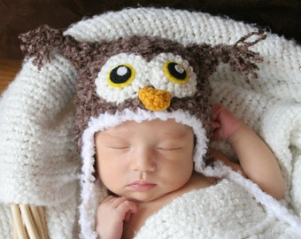 Crochet Fuzzy Brown Owl Hat (Newborn)
