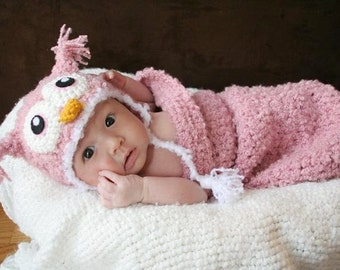 Newborn Baby Pink Owl Crochet Hat and Cocoon Set (Made to Order)