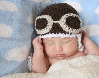 Crochet Dark Brown Aviator Hat (Newborn - Light Gray Goggles)