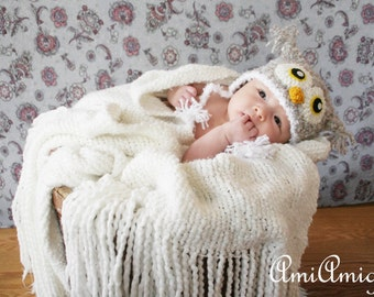 Crochet Fuzzy Light Gray Owl Hat (Newborn)