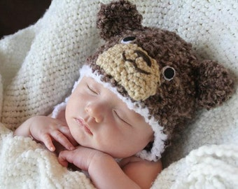 Crochet Fuzzy Brown Bear Hat (Newborn)