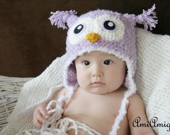 Crochet Fuzzy Soft Purple/Pink Owl Hat (6-12m)