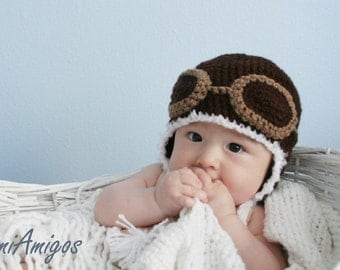 Crochet Dark Brown Aviator Hat (3 - 6 months)