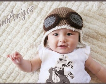 Crochet Aviator Hat (3 - 6 months)