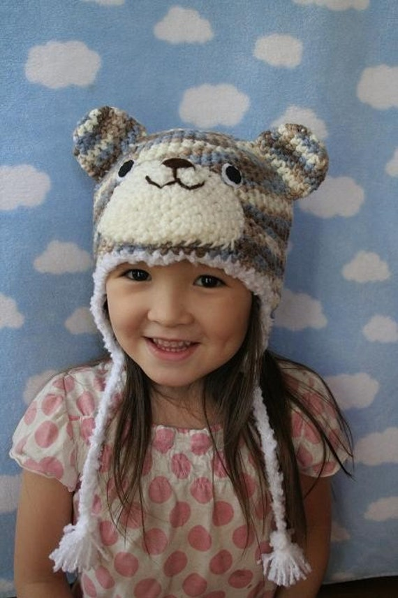 Camo Blue Bear Crochet Hat (4T - Preteen)