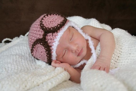Crochet Pink Aviator Hat (Newborn)