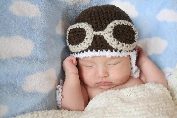 Crochet Newborn Aviator Hat Pattern : Crochet Dark Brown Aviator Hat Newborn Light Gray by AmiAmigos