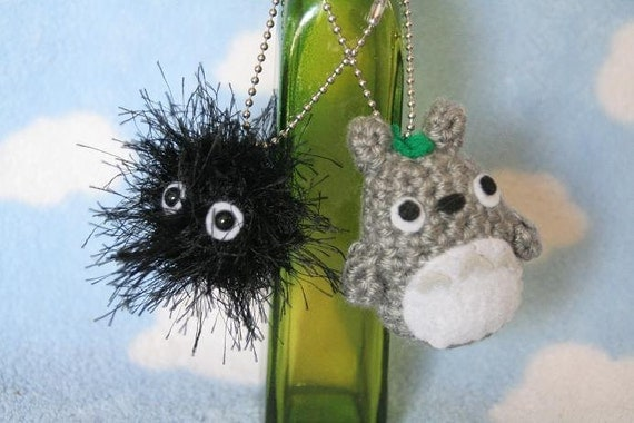 Crochet Totoro and Soot Sprite Keychains