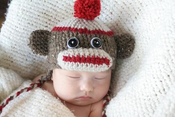 Cute Crochet Sock Monkey Hat (Newborn)
