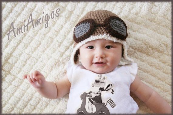 Crochet Aviator Hat (3 - 6 months)