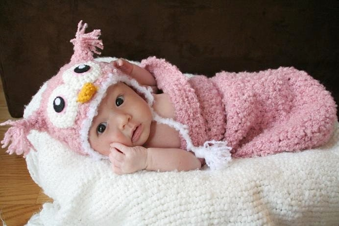 Crochet Owl Baby Cocoon : Newborn Baby Pink Owl Crochet Hat and Cocoon Set Made by AmiAmigos