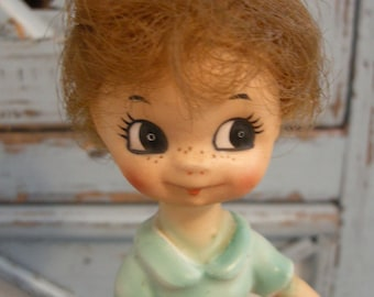 Unique Vintage Little Girl Figurine With Hair