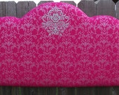 Twin size Upholstered Headboard, Hot pink Damask with Embroidered Embellishment