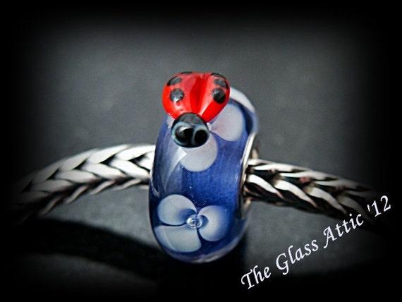 Lady Bug on Blue  European Charm Bead fits Trollbeads, Etc