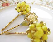 Ray of sunshine vintage earring hair pins