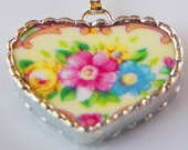 Heart china pendant, love, spring, gift, blue and pink
