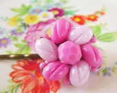 Pink hair accessory, handmade upcycled vintage earring