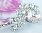 Bridal hair accessory, rhinestone, something old, vintage jewelry, upcycled
