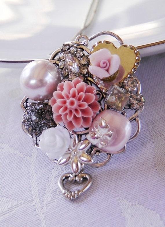 Vintage collage necklace, bits and pieces, blush, flowers, bride, bridal, wedding