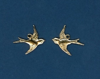 24 Little Brass Swallow Charms