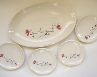 Franciscan Duet Platter and 4 Bread Plates