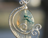 Early Frost Pendent -  unique wire work wrapped handmade handcrafted jewelry silver fire agate green clear