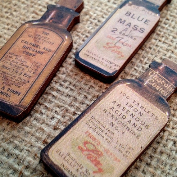 Vintage Style Push Pins Magnets Medicine Bottles Neutral (Qty 7) Steampunk Apothecary