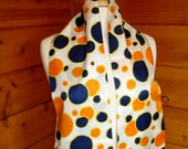 Scarf Long Fringed Orange and Navy Polka Dots Vintage 1970s