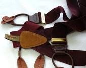 Braces Trafalgar Woven Oxblood Vintage Button On Suspenders