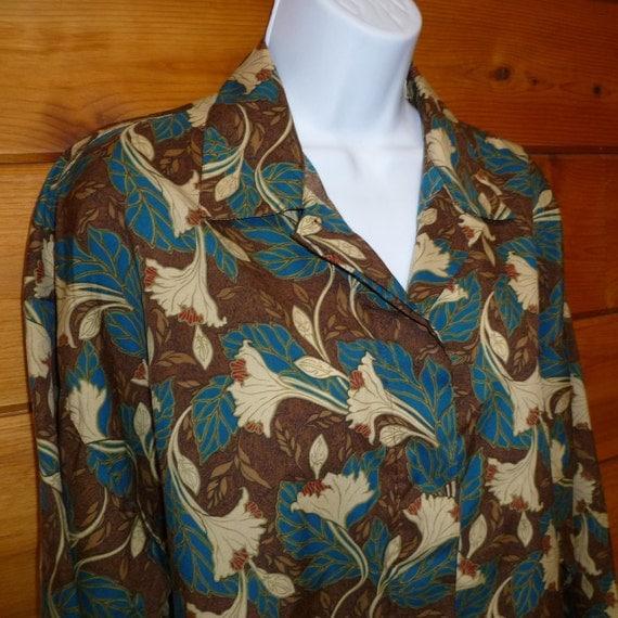 Shirt Blouse Leaves Print DVF Diane von Furstenberg Vintage 1980s Size Large