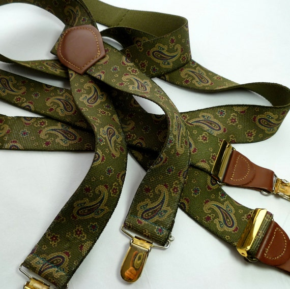 Olive Paisley Stretch Suspenders XL