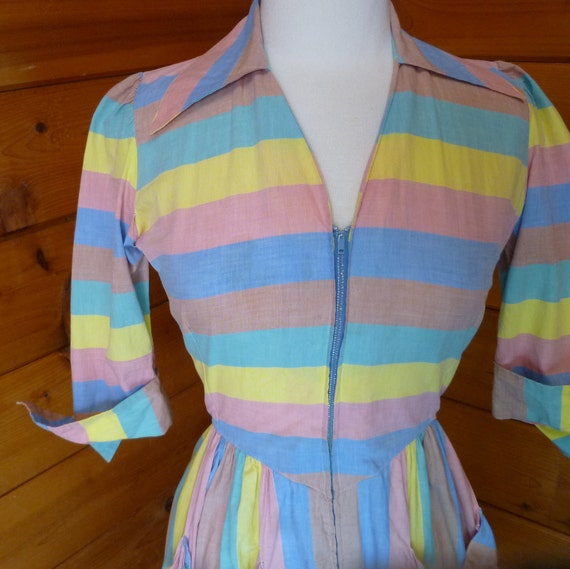 Day Dress Striped Chambray Shirtwaist Vintage 1940s 1950s  26 inch waist