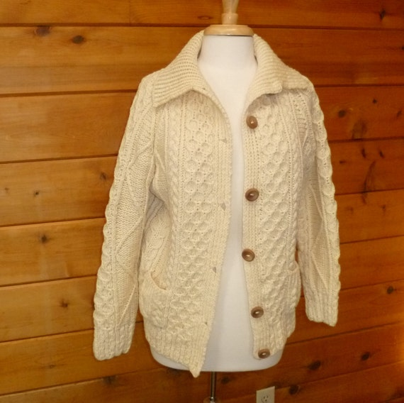 Fisherman's Sweater Heavy Cable Cardigan Irish Wool Vintage 1970s