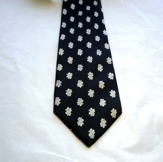 Necktie Christian Dior Charcoal Paisley Silk Vintage