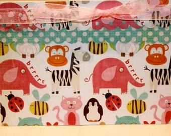 Animals Birthday card, Baby Girl Birthday,  Child Birthday Card, Zoo Animals Birthday Card