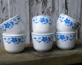 B267 - Set of 6 Vintage Delft Blue and White Floral Pattern Tea Cups made by Star China