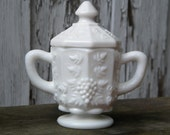 B136 - Vintage Milk Glass Paneled Grapevine Footed Sugar Bowl WITH LID by Westmoreland Glass