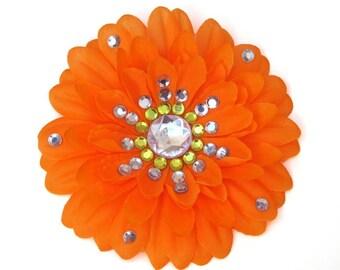 Orange Penny Blossom Rhinestone Flower Barrette (The Big Bang Theory)