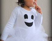 Friendly Ghost Baby Girl Tutu Bodysuit - Halloween Ghost Costume - Sizes Newborn - 24 Months