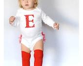 Personalized Red Polka Dot Holiday Ruffle Bottom Bodysuit - Baby Girl Christmas Gift