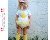 Ducky Tutu Bodysuit - Choose Pink, Lavender Or Yellow - Baby Girl Easter Spring Clothing
