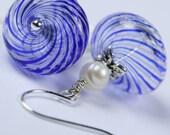 Gypsy Blues-   Swirly Handblown Glass