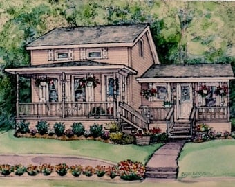 House Portrait Of Your Home,House Painting,Watercolor House Portrait,Drawing of House,Pen and Ink Drawing,Personalized Artwork Heirloom