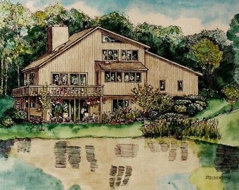 Custom HOUSE PORTRAITS in Pen&Ink and Watercolor of your Home or Building , Original Watercolor, Pen Drawing by Patty Fleckenstein