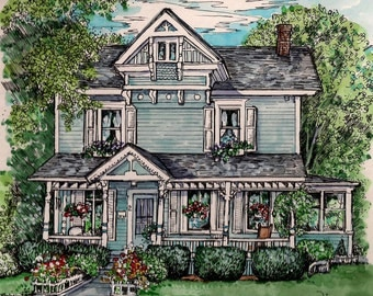 Custom House Portrait in Watercolor and Pen/Ink , Original House Painting, Home Portrait, hand painted  by artist Patty Fleckenstein