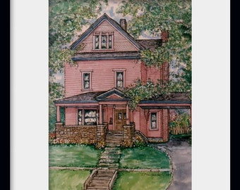 Custom Watercolor House Portrait,handpainted from your photos,Original pen and ink with watercolor painting of your home,Unique Gift