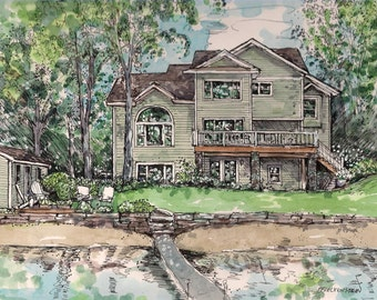 Custom Watercolor  House Portraits~ Homes, Vacation Sites, Hand painted by Patty Fleckenstein