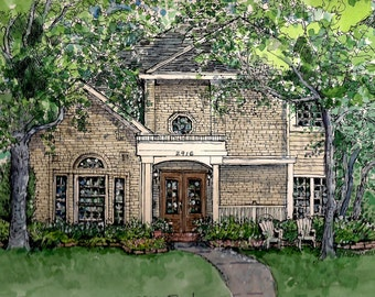 House Portraits in Pen and Ink and Watercolor