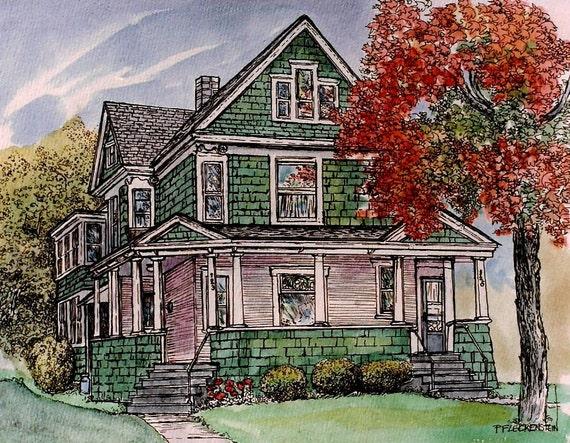 Original Custom House Portraits in Pen or Watercolor