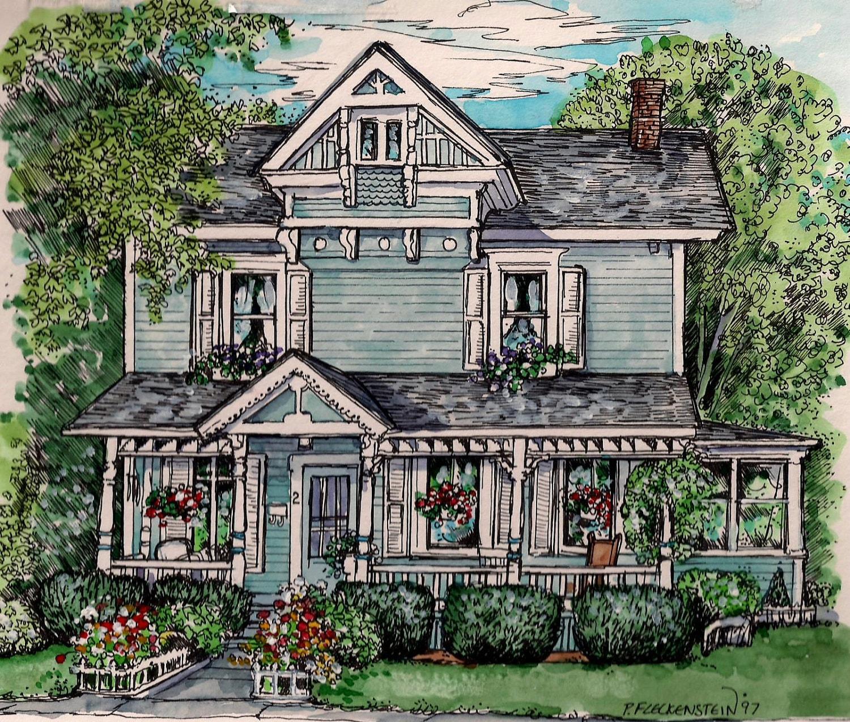 custom house portrait in watercolor and pen ink original zoom